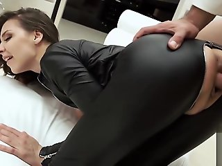 blowjob, bdsm, brunette, creampie, latex, russian