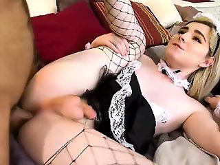 guy fucks shemale, couple, lingerie, shemale, stockings,